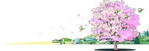 桜咲く街並みのイラスト素材 [FYI04797833]