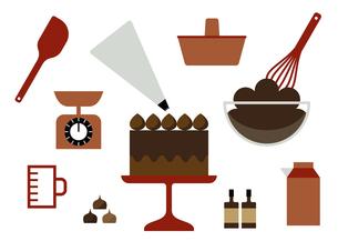 チョコケーキ作り イラストのイラスト素材 [FYI04798284]
