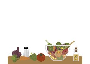 サラダ作り フレーム イラストのイラスト素材 [FYI04798286]