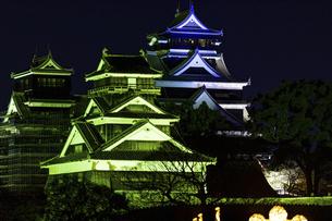 城 美しい夜空を背景にライトアップに輝く名城(熊本城)の写真素材 [FYI04798322]