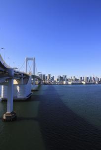 東京湾レインボーブリッジと東京都心の風景の写真素材 [FYI04798551]