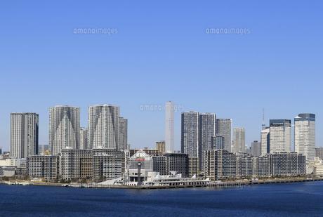 東京湾レインボーブリッジから見える晴海から勝どきにかけて建ち並ぶベイエリアのマンション群の風景の写真素材 [FYI04798552]