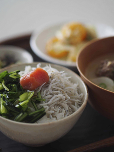 壬生菜しらす明太子ご飯の写真素材 [FYI04798770]