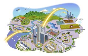 ネットワークで繋がった都市と生活の町並みイラスト バリエーションあり のイラスト素材 [FYI04798813]