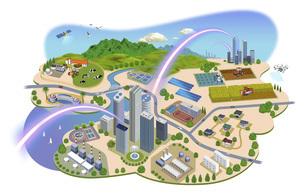 ネットワークで繋がった都市と生活の町並みイラスト バリエーションあり のイラスト素材 [FYI04798814]