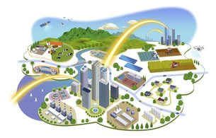 ネットワークで繋がった都市と生活の町並みイラスト バリエーションあり のイラスト素材 [FYI04798815]