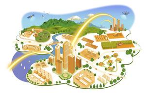ネットワークで繋がった都市と生活の町並みイラスト バリエーションあり のイラスト素材 [FYI04798816]