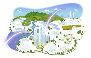 ネットワークで繋がった都市と生活の町並みイラスト バリエーションあり のイラスト素材 [FYI04798817]