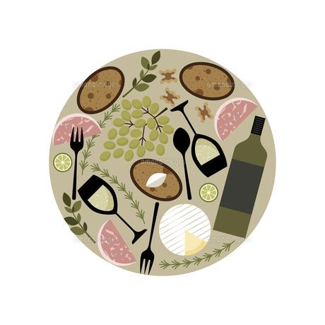 パーティー料理 イメージ 円形のイラスト素材 [FYI04798948]