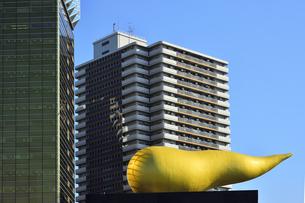 1989年にアサヒビール創業100周年を記念にスーパードライホール屋上に建設された「フラムドール」(フランス語で金の炎)と呼ばれるオブジェの写真素材 [FYI04799018]
