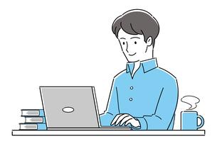 テレワーク、オンライン授業、パソコンを操作する若い男性のイラスト素材 [FYI04799046]