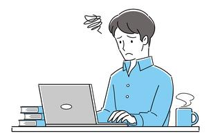 テレワーク、オンライン授業、トラブル、パソコンを操作する、困った表情の若い男性のイラスト素材 [FYI04799047]