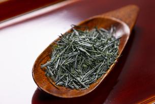 茶さじに盛られたお茶の写真素材 [FYI04799083]