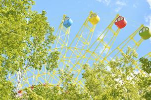 新緑とカラフルな観覧車を、青空を背景に撮影の写真素材 [FYI04799213]