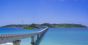 山口県 風景 海岸線と青空  (角島と角島大橋)の写真素材 [FYI04799332]