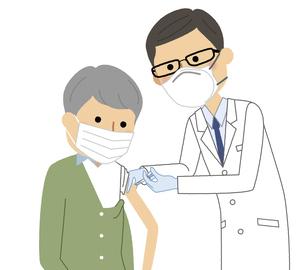 ワクチン接種を受ける高齢者のイラスト素材 [FYI04800075]