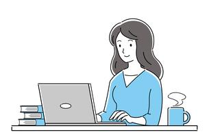 テレワーク、オンライン授業、パソコンを操作する若い女性のイラスト素材 [FYI04800158]
