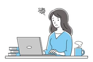 テレワーク、オンライン授業、トラブル、パソコンを操作する、困った表情の若い女性のイラスト素材 [FYI04800159]