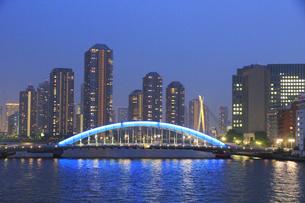 佃島タワーマンションと永代橋の写真素材 [FYI04800301]