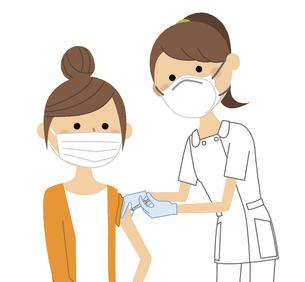ワクチン接種を受ける若い女性のイラスト素材 [FYI04800416]