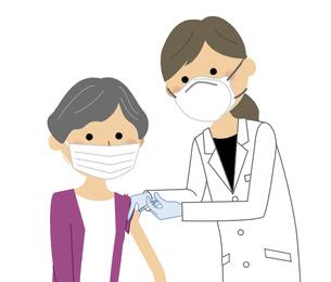 ワクチン接種を受ける高齢者のイラスト素材 [FYI04800421]