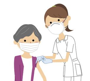 ワクチン接種を受ける高齢者のイラスト素材 [FYI04800422]