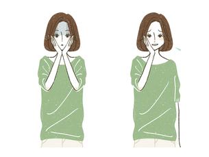 ショックを受けている女性-苦笑いしている女性のイラスト素材 [FYI04800585]