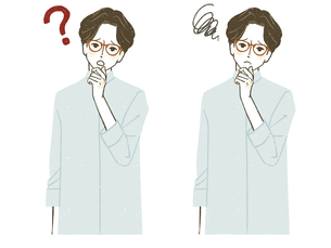 疑問や悩みを持つ男性のイラスト素材 [FYI04800594]