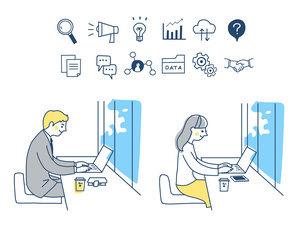 Web iconとリモートワークをする男女のイラスト素材 [FYI04800766]