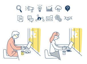 Web iconとリモートワークをする男女のイラスト素材 [FYI04800767]