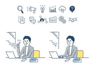 Web iconとリモートワークをする男性のイラスト素材 [FYI04800768]
