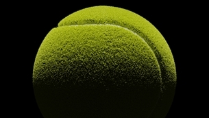 Tennis ball on black background. 3d illustration for background.のイラスト素材 [FYI04801128]