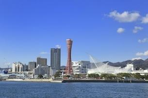 神戸ポートタワーと神戸港の写真素材 [FYI04801284]