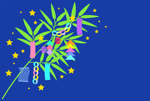 七夕飾り【星空を背景にした笹飾り】のイラスト素材 [FYI04801457]