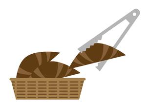 クロワッサンをトングではさむ イラストのイラスト素材 [FYI04801798]