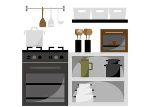 キッチンとコンロ周り イラストのイラスト素材 [FYI04801951]
