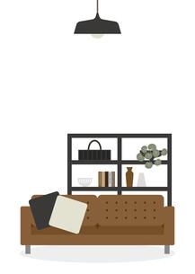 茶色のソファー リビングルームのイラスト素材 [FYI04801952]