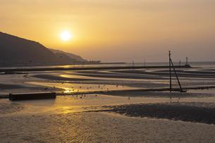 夕暮れ時の御輿来海岸の写真素材 [FYI04801971]