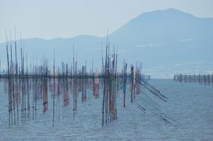 沖新漁港の海苔網の写真素材 [FYI04801995]