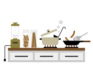 キッチンとコンロ 料理風景 イラストのイラスト素材 [FYI04802119]