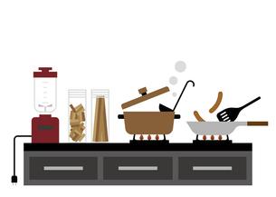台所とコンロ 調理イメージイラストのイラスト素材 [FYI04802120]