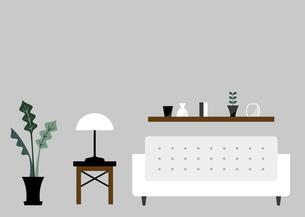白いソファーとリビングルームのイラスト素材 [FYI04802121]
