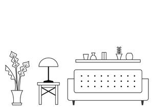 リビングルーム ソファー 線画のイラスト素材 [FYI04802122]