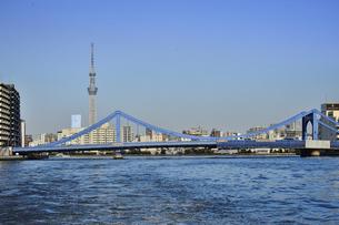 水上バスから見た清洲橋と東京スカイツリーとビル群と空の写真素材 [FYI04802157]