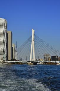 水上バスから見た中央大橋と東京スカイツリーとビル群と空の写真素材 [FYI04802168]