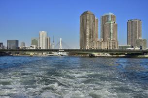 水上バスから見た中央大橋(奥)と佃大橋とスカイツリーとビル群と空の写真素材 [FYI04802170]