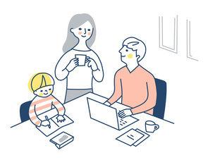 自宅でリモートワークをする男性と家族のイラスト素材 [FYI04802974]