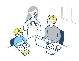 自宅でリモートワークをする男性と家族のイラスト素材 [FYI04802975]