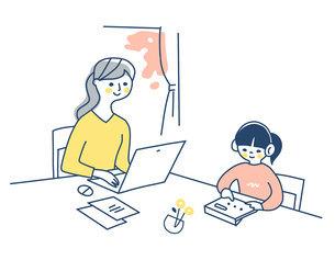 リモートワークをする母親と一緒に勉強する女の子のイラスト素材 [FYI04802977]