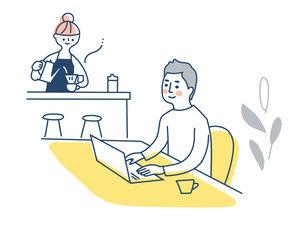 自宅でリモートワークをする男性のイラスト素材 [FYI04802978]